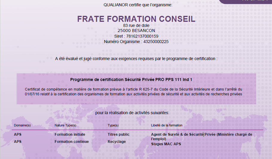 QUALIANOR – Certification sécurité privée